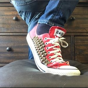 Pre owned red CONVERSE hand studded by me